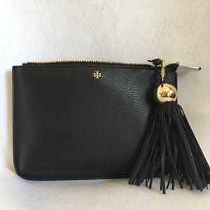 Tory Burch Tassel Leather Crossbody Bag Black